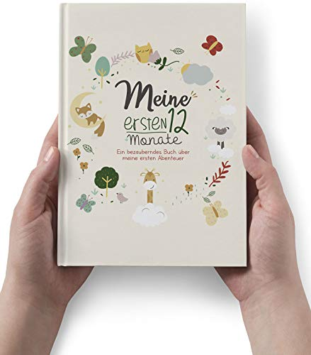 Meine ersten 12 Monate. Ein bezauberndes Buch über meine ersten Abenteuer. Geschenk zur Geburt für Mädchen und Junge, Baby album, Mein Erstes Jahr, Baby Fotoalbum Buch.