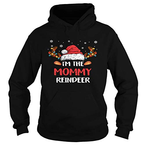 I'm The Mommy Reindeer Christmas Pajama Family Costume Black Hoodie Black Size S