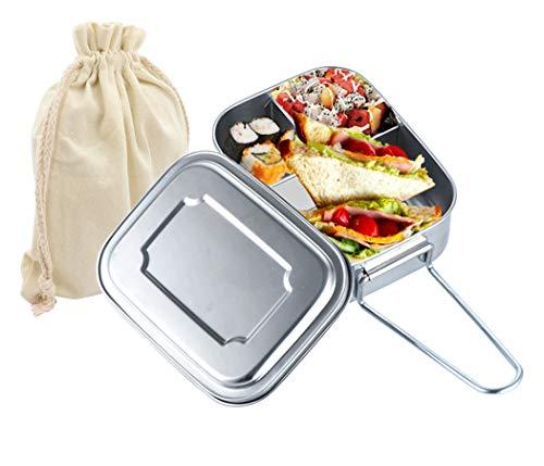 Gisdanchz Lunchbox Brotdose Edelstahl für Mann, Metall Brotbox mit Deckel und 3 Fächern, Ohne Plastik Metalldose Stainless Steel Lunch Bento Box, Spülmaschinenfest Ecolunchbox Henkelmann 1200ml