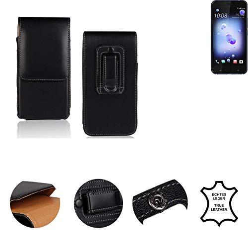 K-S-Trade® Holster Gürtel Tasche Für HTC U11 Dual-SIM Handy Hülle Leder Schwarz, 1x
