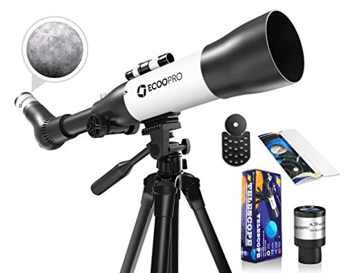 ECOOPRO Telescope for Kids Beginners, 70mm Aperture 500mm AZ Mount Astronomical Refracting Telescope, Portable Travel Telescopes with Adjust Tripod& Finder Scope, Phone Adapter, White