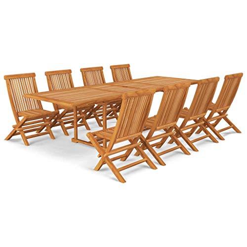 vidaXL Teak Massiv Gartenmöbel Set 9-TLG. Gartengarnitur Sitzgruppe Gartenset Sitzgarnitur Gartentisch Gartenstuhl Tisch Stühle Klappstühle