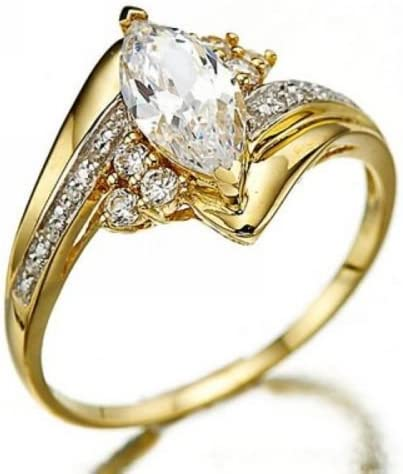 Rattana shop Marquise Cut White Sapphire 18K Gold Filled Woman