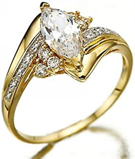 Rattana shop Marquise Cut White Sapphire 18K Gold Filled Woman's Wedding Rings Size 6-10 (8)
