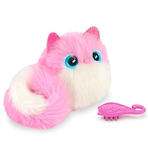 Bandai - Pomsies - Pinky - Chaton rose et blanc - Peluche interactive qui s'accroche partout - 80734