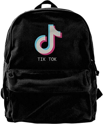 Canvas Backpack TIK Tok Rucksack Gym Hiking Laptop Shoulder Bag Daypac