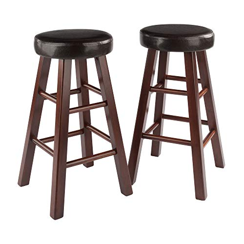 wood marta assembled round counter stool with pu leather cushion seat