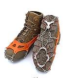 Crampones 12 dientes de acero inoxidable Grapas Escalada Calzado Antideslizante cubierta de Tracción las grapas al aire libre de esquí de nieve de hielo de excursión subir Negro Naranja para Caminar y