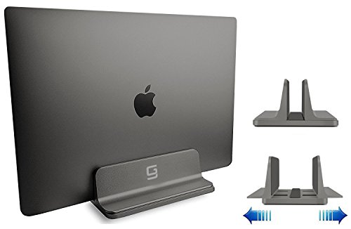 GodSpin Adjustable Laptop Stand Dock | Compatible with All Laptops | Vertical Modern Aluminum Custom Fit Desktop Space-Saving (Gray)