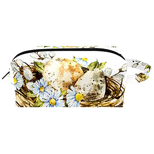 Bolsa de embalaje de viaje pequeña bolsa de maquillaje neceser bolsa de cosméticos impermeable con cremallera bolsa de cosméticos organizador de accesorios para mujeres acuarela cesta de Pascua