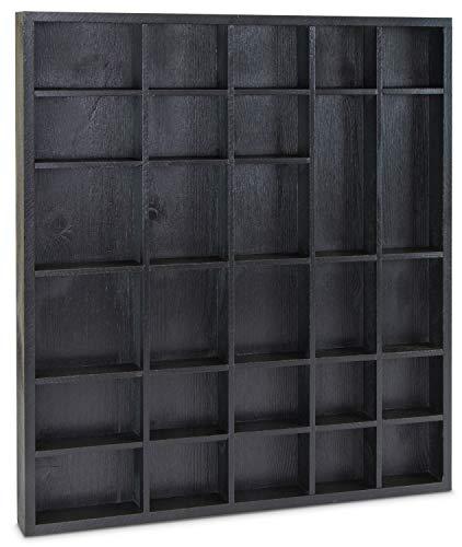 LAUBLUST - Setzkasten in Größe L für Sammelgegenstände - Kiefer Schwarz - ca. 45 x 40 x 4 cm