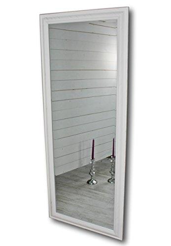 elbmöbel 150 x 60cm Wandspiegel groß in weiß mit schlichtem Holz-Rahmen Standspiegel