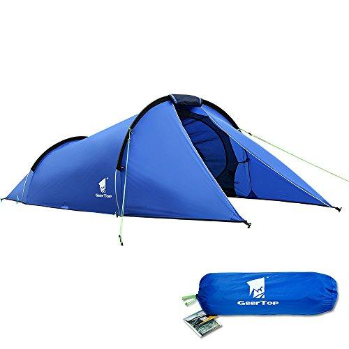 GEERTOP Tente Tunnel de Camping 2 Personnes Imperméable Légère pour Randonnée Trekking et d'...