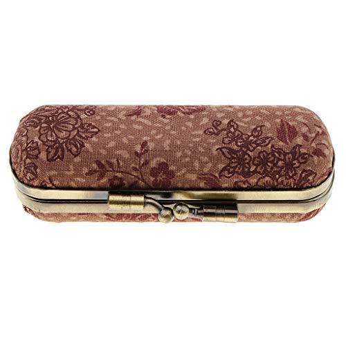 perfeclan Caja Del Sostenedor Del Caso Del Brillo De Labios Del Lápiz Labial Doble Del Maquillaje De Las Mujeres Con El Espejo Dentro - Vino rojo rosa