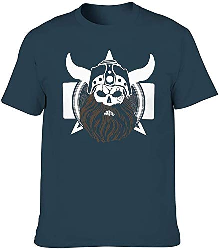 sdfa Viking Pirate Warrior Helmet Knot Totem Printed Men's Graphic T Shirt Soft Abstract Summer Tees,Navy,Medium