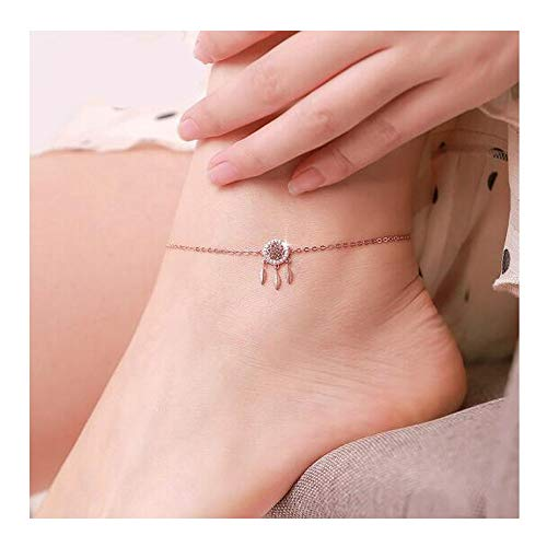 WeiCYN Anklet, 925 Silver Dream Catcher Anklet Anklet, Inlaid With Swarovski To Form A Square Zirconia, Ladies And Girls Charm Anklet Fashion Accessories Adjustable Exquisite accessories. Shows perfec