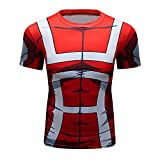 Anime My Hero Academia UA Uniform Red Costume Workout Skin Compression Short Sleeve Tee for Men(M)