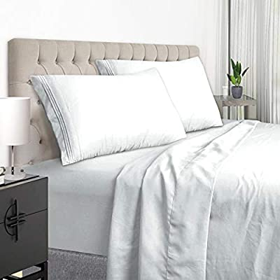 YumHome King Size Sheets Set - Super Soft Brushed Microfiber 1800 Thread Count Egyptian Sheets with 15-Inch Deep Pocket - Breathable Wrinkle and Hypoallergenic-4 Piece(King, White)
