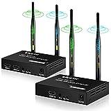 ワイヤレスHDMI送受信機セット HDMI ワイヤレス エクステンダー 5.8G 最大200m無線伝送可能 映像と音声を無線転送 受信機側リモコン操作可 簡単接続DVD/HDTV/PCなどに適用 日本語説明書付き