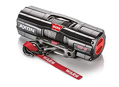 """WARN 101140 AXON 45-S Powersports Winch with Spydura Synthetic Cable Rope: 1/4"""" Diameter x 50' Length, 2.25 Ton (4,500 lb) Pulling Capacity"""