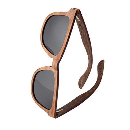 WOLA Damen Herren Sonnenbrille Holz AERO eckige Brille starke Brücke Vollholz polarisiert UV400 Unisex- Gr. Damen L / Herren M, Nussholz Grau