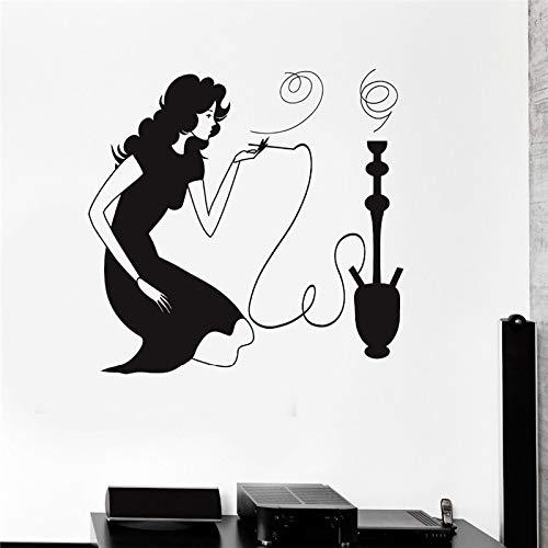 yaonuli dames Arabische rook koffie afneembaar vinyl muursticker boutique decoratie 42 x 43 cm