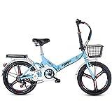 ABDOMINAL WHEEL Bikes Bicicleta Plegable Urbana, Cambio de 6 Velocidades con Piñón Libre para Exterior, Sin Herramientas, Fácil de Transportar,16/20 Pulgadas