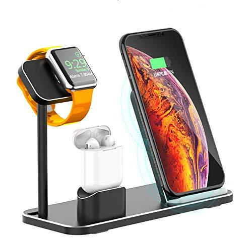 AODUKE - Soporte de Carga para Apple Watch (Aluminio, Compatible con Apple Watch Series 4/3/2/1 AirPods, Cargador inalámbrico rápido para iPhone XS MAX/XS/XR/X/8)