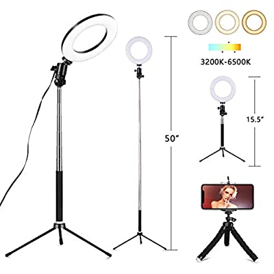 """6"""" Selfie Ring Light with Tripod Stand & Cell Phone Holder for Live Stream Makeup,Mini Led Camera Ring Light Table Lamp Fill Light for YouTube Video Photography Shooting Vlog USB Plug"""