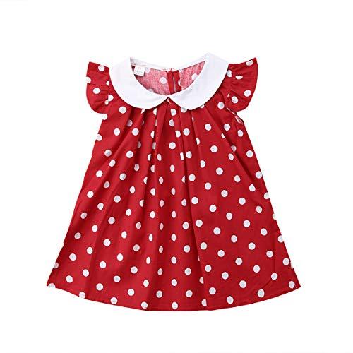 AIni Mädchen Kleider Sommer Mode Elegant Prinzessin Polka Dot Red Neugeborenes Baby Mädchen Party Geburtstags Strandkleider Festlich Hochzeit Cocktailkleid Partykleid(80,Rot)