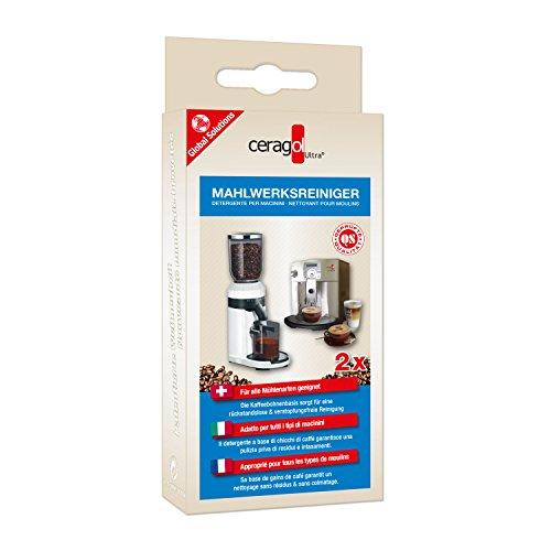 ceragol ultra Mahlwerksreiniger für Kaffeevollautomaten und Mühlen Aller Art, 2 Sachets