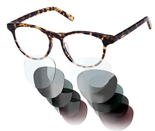 Brille mit Sehstärke von -4,00 bis +4,00 mit auswechselbaren Gläsern in 6 Farben für Kurzsichtigkeit und Weitsichtigkeit - Unisex (für Damen & Herren) - Kollektion A Modell 03
