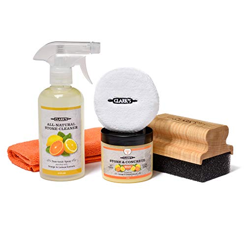 CLARK'S Soapstone Slate and Concrete Complete Care Kit - Soapstone Wax - Large Applicator - Buffing Pad - Daily Stone Cleaner - Microfiber Towel