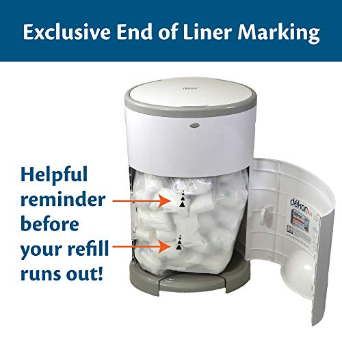 Dekor Classic Hands-Free Diaper Pail | White | Easiest to Use | Just Step – Drop – Done | Doesn't Absorb Odors | 20 Second Bag Change | Most Economical Refill System