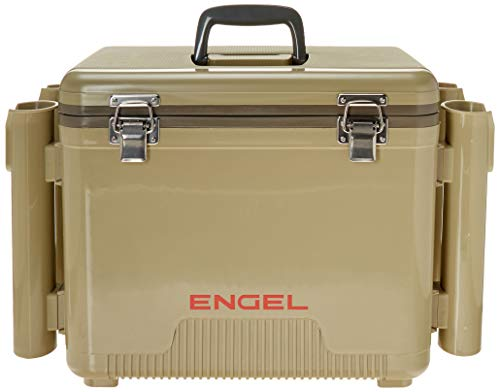 Engel 19 quart leak-proof air-tight drybox/cooler with rod holders (UC19T-RH),Tan