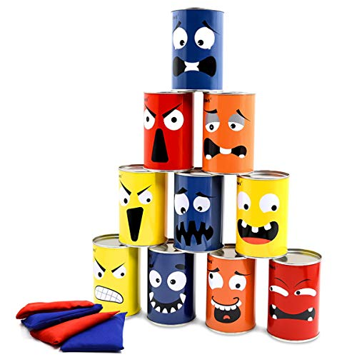 Halloween Carnival Game Halloween Party Games Bean BagToss Games for Kids and Adults Family Party Games Easter Games 10 Funny Face Metal Cans with 4 Bean Bags