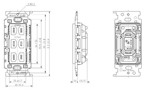 『神保電器 ニューマイルドビーシリーズ 埋込トリプルコンセント 絶縁枠付 2P 15A 125V ピュアホワイト JEC-BN-555V PW』の3枚目の画像