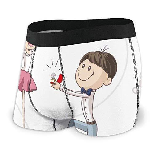 Web--ster Calzoncillos bóxer para Hombres, Dibujos Animados de celebración de Amor Pareja de San Valentín con Anillo de Bodas Talla XL