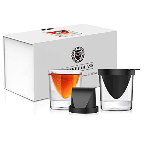 Kollea Whisky Set Geschenk,Whiskeygläser aus Kristall und Eiswürfelmodell und Whiskey Steine mit 2 Gläser ,Besondere Geschenke für Männer, Whiskey, Wodka, Gin & Mehr
