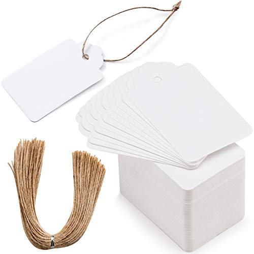 Primbeeks 200pcs Premium Gift Tags, White Gift Tags with 200 Root Natural Jute Twine, Blank Gift Tags with String, Gift Tag Labels for Wedding Christmas Day Thanksgiving