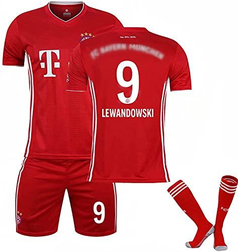 WYIILIN Camiseta de fútbol para niños 2021 Lewandowski Home Stadium No. 9 Jersey con calcetines para hombres y mujeres adultos camisetas de fútbol rojo 18