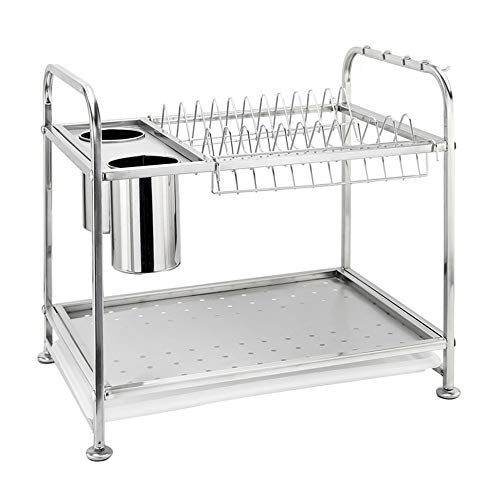 Dish Drainers 2-Tier Stainless Steel Kitchen Rack Holder,Dish Drying Rack,kitchen Rack with Chopsticks Cage, 4 Hooks and Tray Kitchen Storage Holders
