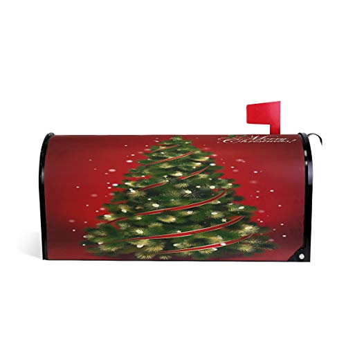 Arbre de Noël Rouge Bienvenue magnétique Boîte aux Lettres Boîte aux Lettres Coque stratifiées, Winter an Vacances Taille Standard Makover Mailwrap Garden Home Decor 64.7x52.8cm Multicolore