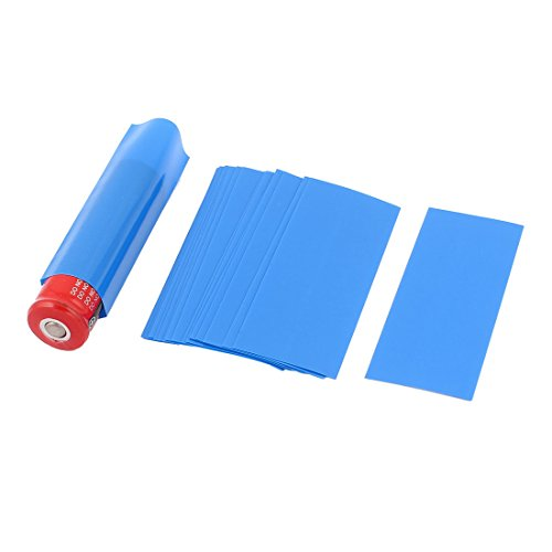 uxcell a15060100ux0642 20 Pcs 18.5mm Dia PVC Heat Shrink Tubing Blue for 1 x 18650/18500 Battery Pack of 20