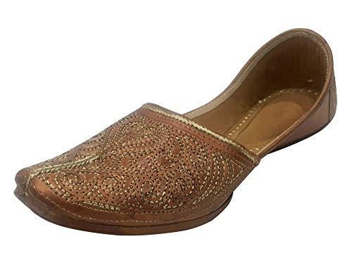 Step n Style Mens Khussa Shoes Punjabi Juttis Jooti Ethnic Mojari Indian Jalsa Shoes (10.5) Brown