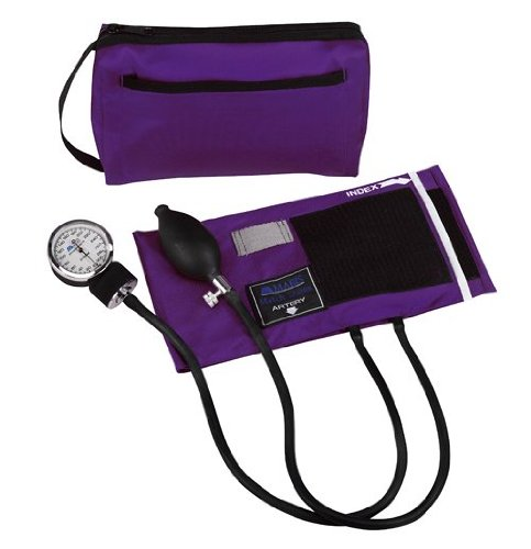 MABIS MatchMates Aneroid Sphygmomanometer Manual Blood Pressure Monitor Kit with Calibrated Nylon Cuff and Carrying Case, Professional Quality, Purple