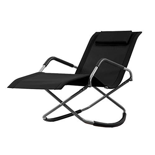 SPARROW Schaukelstühle Lounge Chair Folding Büroeinzel beweglicher Schaukelstuhl Teslin Breathable Ineinander greifen (Color : Black)