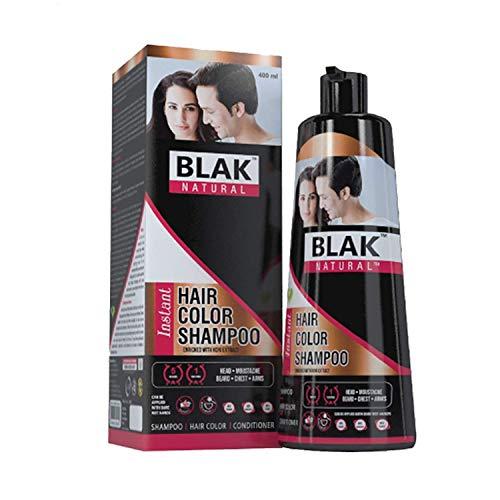Blak Natural Hair Instant Color Shampoo | Ammonia Free, Natural Damage Free Gel Colour For Hair Black (400 ml, Pack 1)