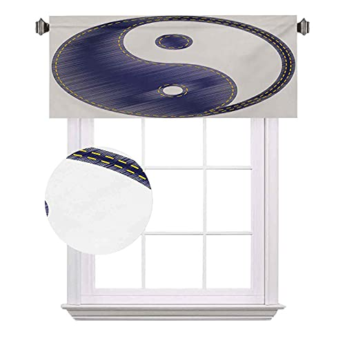 Ying Yang - Cortinas de media ventana, espiritual Yin Yang con textura en estilo Jean Harmony y y equilibrio, adecuado para pequeñas ventanas en cocinas y baños, 100 x 30 cm, color blanco y azul