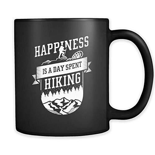 Taza de excursionista, regalo para exteriores, amor taza de senderismo La felicidad es un día de senderismo, taza de café de cerámica, taza de té para la oficina y el hogar, 11 oz, apta para lavavajil